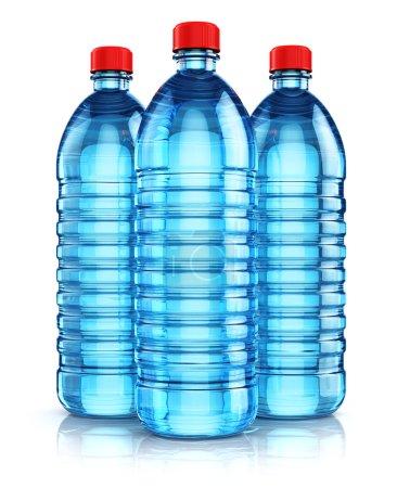 Group of blue plastic drink water bottles