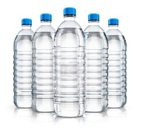 Group of plastic drink water bottles
