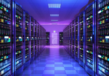 Photo for Modern web network and internet telecommunication technology, big data storage and cloud computing computer service business concept: 3D render illustration of the server room interior in datacenter in blue light - Royalty Free Image