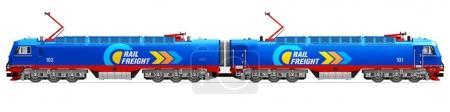 Photo pour Concept commercial abstrait créatif de l'industrie de la logistique du fret ferroviaire et du fret : illustration en 3D d'une locomotive électrique bleue moderne à marchandises lourdes isolée sur fond blanc - image libre de droit