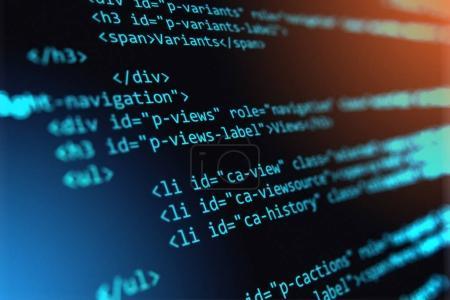 Photo pour Abstrait Php web design créatif, internet, programmation langage Html et le concept d'entreprise numérique ordinateur technologie: illustration de rendu 3d de la vue macro du code source logiciel sur écran à compter de la mise au point sélective - image libre de droit