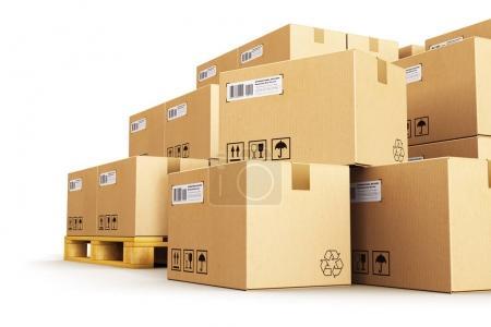 Photo pour Concept commercial créatif abstrait de l'industrie des entrepôts de fret, de livraison et de transport logistique : illustration en 3D du groupe de boîtes en carton ondulé empilées sur palettes d'expédition en bois isolées sur fond blanc - image libre de droit