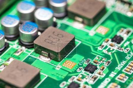 Photo for Creative abstract electronic industry business technology concept: macro view of the group of computer PC motherboard or mainboard circuit board PCB with selective focus effect - Royalty Free Image