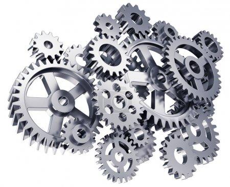 Photo pour Illustration abstraite créative en 3D du groupe de différents engrenages métalliques ou en acier ou roues dentées isolés sur fond blanc - image libre de droit