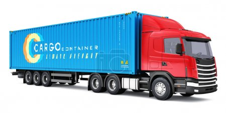 Photo for Shipping, logistics and freight delivery business commercial concept: 3D render illustration of the yellow semi-truck with blue 40 ft heavy cargo container isolated on white background - Royalty Free Image