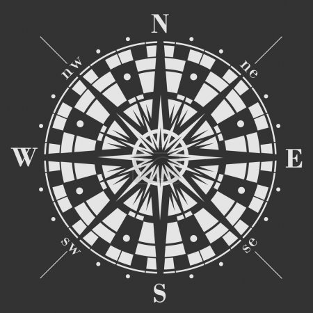 Illustration for Wind rose icon on black background. Vector compass illustration. - Royalty Free Image