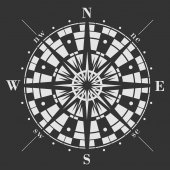 Wind rose icon on black background Vector compass illustration