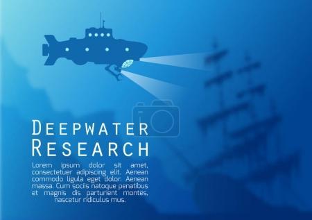 Blurred underwater background with submarine