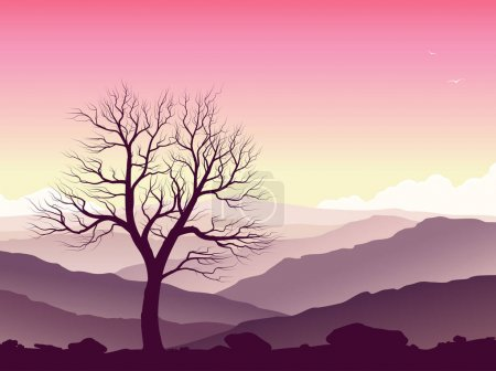 Illustration for Purple mountain landscape. Wild nature at sunset. Vector illustration. - Royalty Free Image