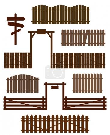 Set of wooden fences with gates