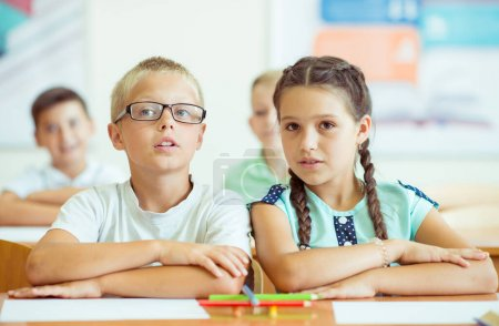 Photo for Portrait of children in shool at the lesson - Royalty Free Image