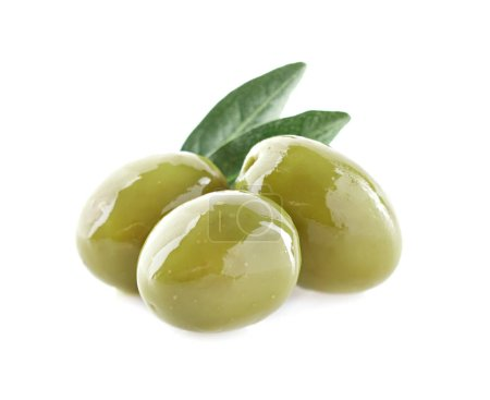 Green olives with leaf