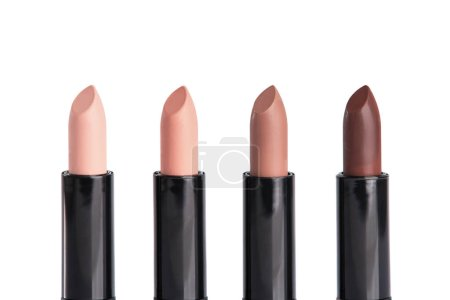 four lipsticks in trendy colors