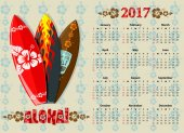 American Aloha vector calendar on 2017 year with surfboards vector illustration