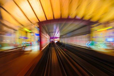 metro subway tracks blur