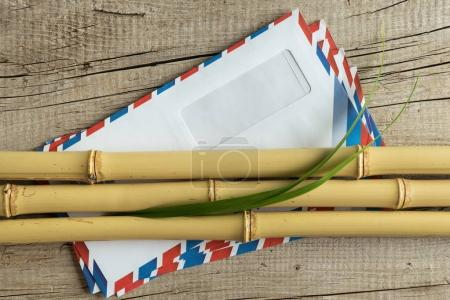 Envelope and bamboo stalk