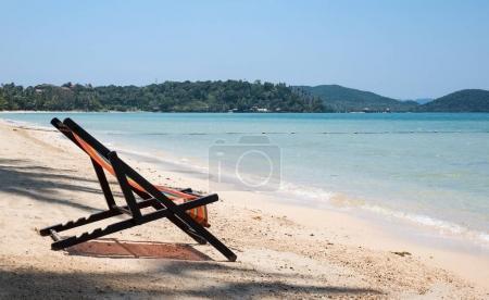 Beach chair on sand beach