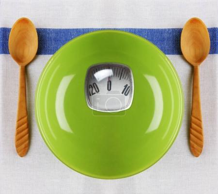 Plate with scales and spoons