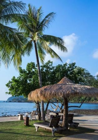 Lounge chairs and sunshade umbrella on the beach
