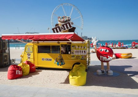 DUBAI, UAE - DECEMBER 5, 2017: Stall with ice cream on the New public beach, Jumeirah Beach Residence JBR.