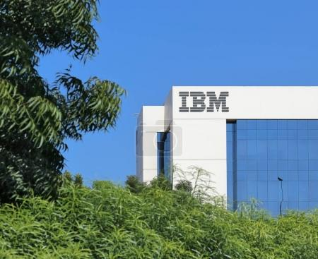 DUBAI, UAE - DECEMBER 1, 2017: Sign of IBM on the office building . IBM is an American multinational technology and cumulating corporation headquartered in New York.