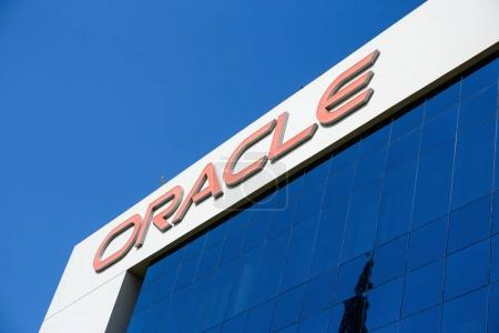 DUBAI, UAE - DECEMBER 1, 2017: Sign of Oracle on office building