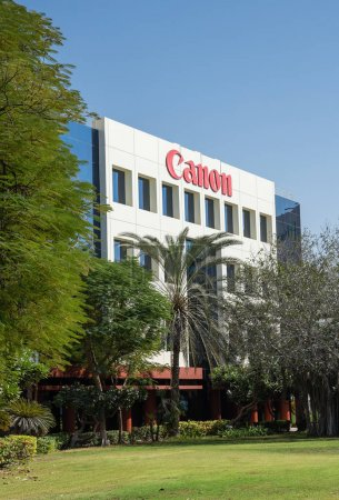 DUBAI, UAE - DECEMBER 1, 2017: Sign of Canon on office building