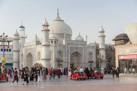 DUBAI, UAE - DECEMBER 4, 2017: Pavilion Taj Mahal in the park entertainment center Global Village