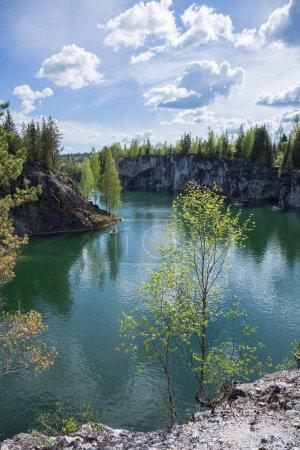 Famous beautiful marble quarry Ruskeala in Karelia.