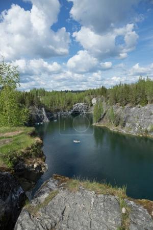 Marble quarry in Ruskeala Park, Republic of Karelia, Russia.