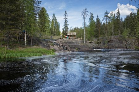 SORTAVALA, RUSSIA - JUNE 10, 2017: Landscape with river in forest of Karelia