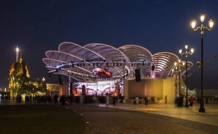 DUBAI, UAE - DECEMBER 4, 2017: General view of the concert stage at night  in the park entertainment center Global Village