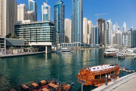 DUBAI, UAE - NOVEMBER 29, 2017: view of the canal from the bridge in the Dubai Marina area