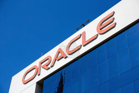 DUBAI, UAE - DECEMBER 1, 2017: Low angle view of sign of oracle on office building