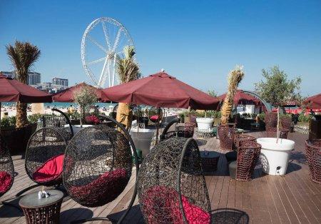 DUBAI, UAE - DECEMBER 5, 2017: Street Cafe on Jumeirah Beach Residence