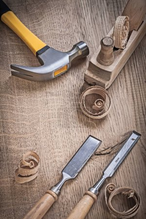 hammer planner chissels shavings on wood