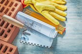 Red bricks safety gloves wooden meter construction plans brickla