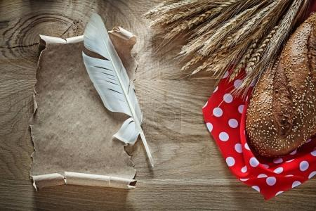 Bread rye ears red polka-dot table cloth feather vintage scroll