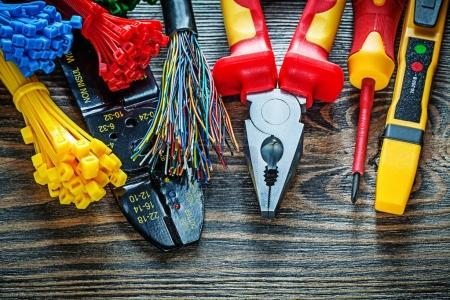 Electrical tester wires tying cables bolt cutter pliers insulati