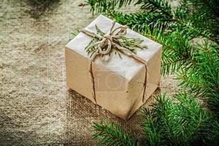 Gift box thuya fir tree branch on sacking background