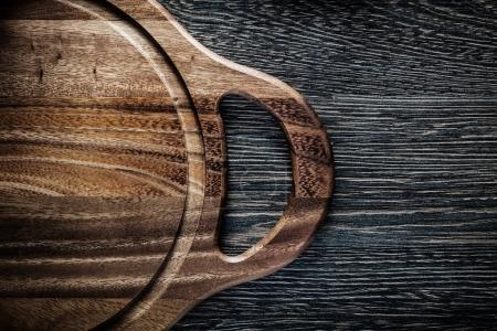 Photo for Wooden carving board on wood background. - Royalty Free Image