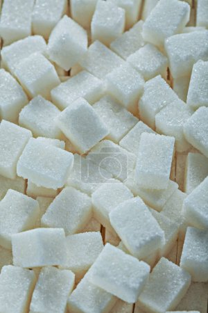 Photo for White sugar cubes top view. - Royalty Free Image
