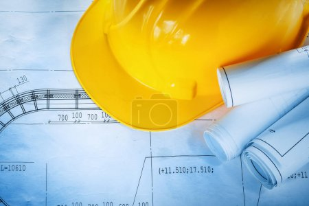 Safety building helmet construction plans on blueprint
