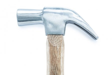 Construction claw hammer isolated on white top view