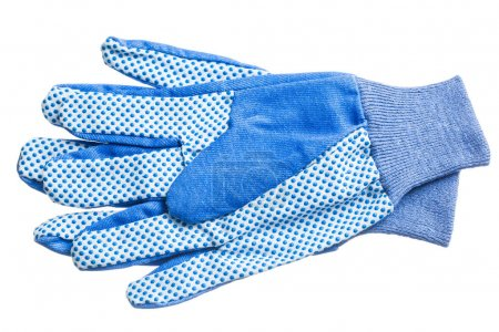 Blue safety gloves isolated on white