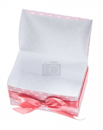 Photo pour Coffret cadeau ouvert rose isolé sur blanc . - image libre de droit