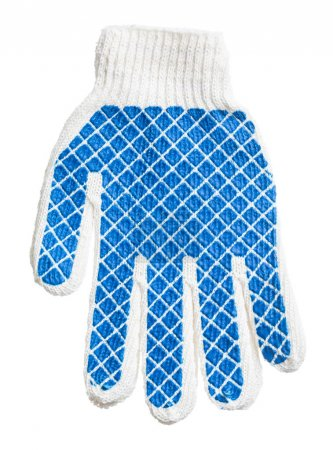 Pair of blue protective gloves isolated on white