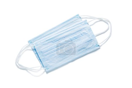 Photo for Disposable blue sterile flu mask isolated medical tools - Royalty Free Image