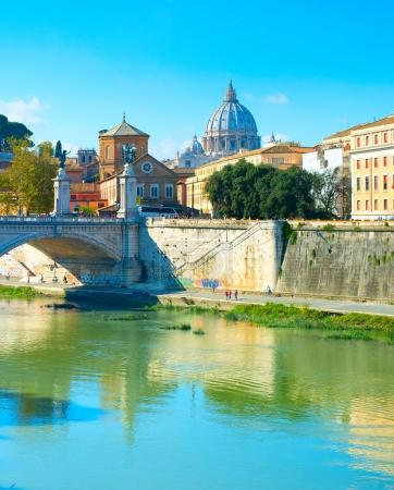 Tiber and St. Peter's cathedral in Vatican