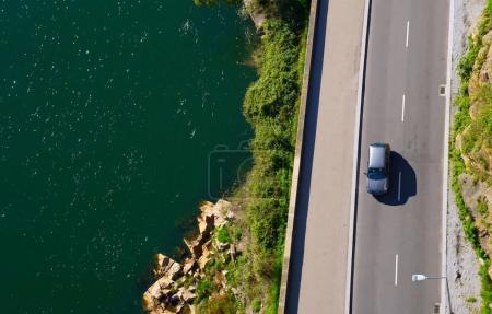 Aerial view of coastal road